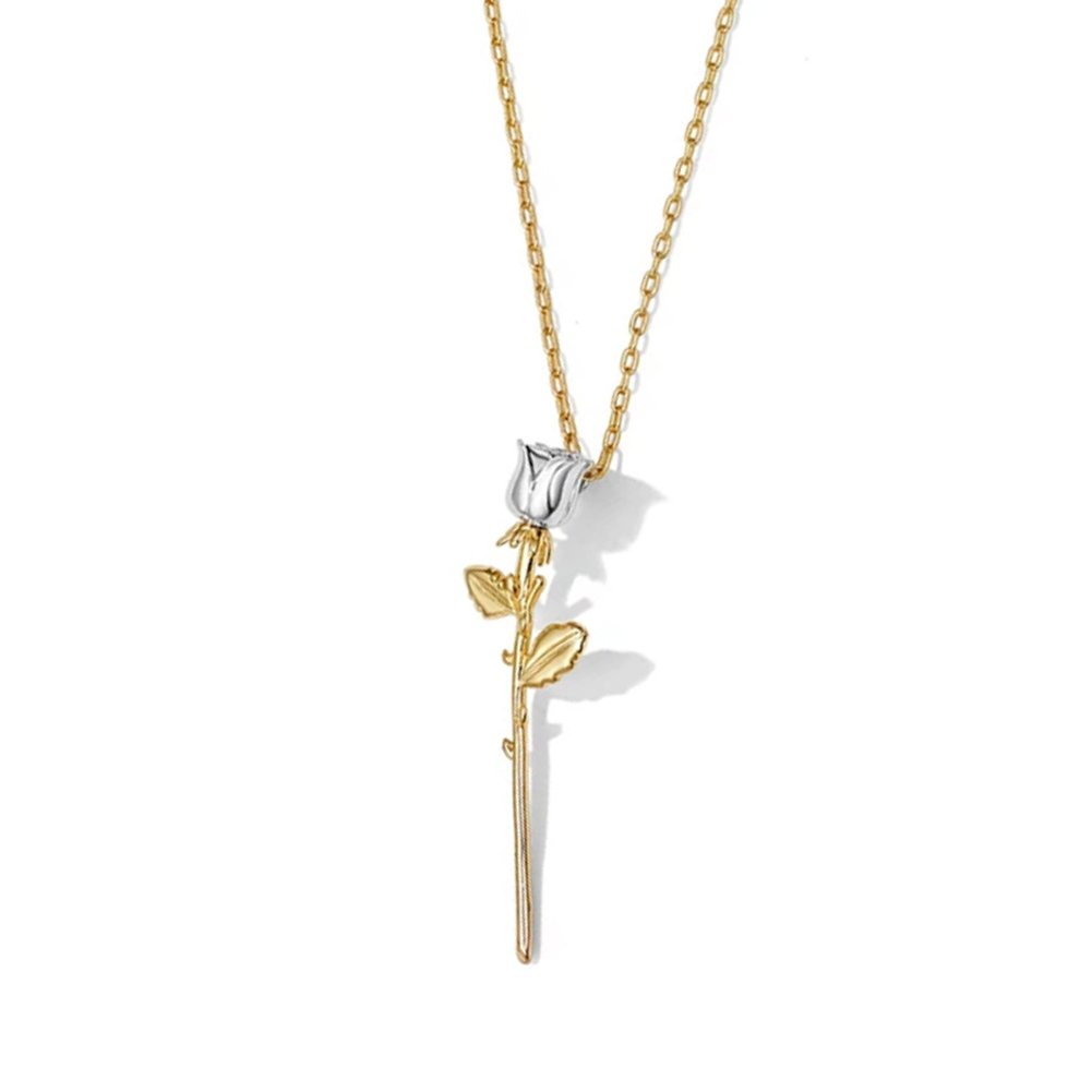 DIDa Graduation Gifts Rose Necklace Silver Gold Flower Pendant Necklace for Women