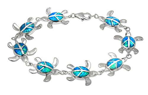 Sterling Silver Turtle Simulated Bracelet