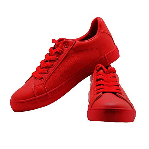 Lantina Womens Sneakers Classic Fashion Casual Running Walking Low Top Summer Breathable Ladies Tennis Shoes, Red / 7 B(M) US