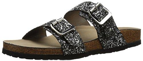 Madden Girl Women's Brando-g Flat Sandal, Silver/Multi, 7.5 M US
