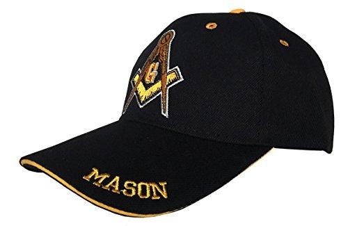 Freemason 3D Embroidered Adjustable Hat Mason Masonic Lodge Baseball Cap (Black & Yellow)