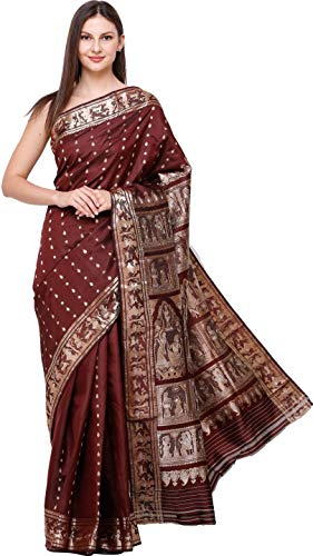 Exotic India Rum-Raisin Draupadi Baluchari Sari from Bengal with Zari-Wo - - India Rum