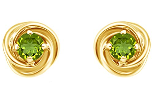 Round Cut Love Knot Stud Earrings In 14K Yellow Gold Over Sterling Silver