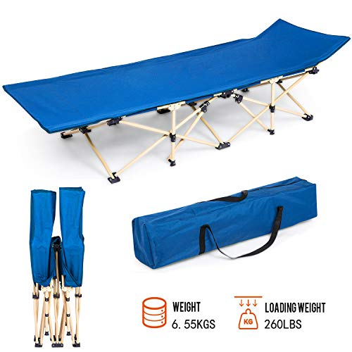 Folding Camping Bed Cot with Carry Bag Portable Easy Set Up Sleeping Cot with Weight Capacity 260lbs for Outdoor Home Office[US Stock] (Blue)