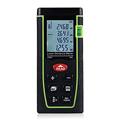 ZANTEC Laser Distance Meter Range Finder Build Measure Device Test Tool 131 Feet(40M),Accuracy ±2mm 0.079inch,2×AAA Battery