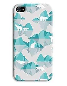 Digital Polar Bear blue Ice Design iPhone 4 4S Hard Case Cover