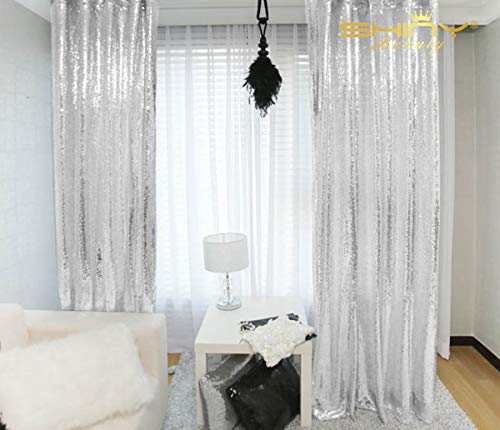 Sequin Curtains 2 Panels 2FTx8FT Silver Glitter Backdrop Silver Sequin Photo Backdrop Backdrop -