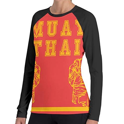 Fengyaojianzhu Women's Muay Thai Thailand Kickboxing Fashion Long Sleeve Tops Sweatshirt Tee T-Shirt