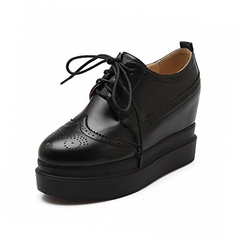 Toe Musta Pumput Korkokengät Solid Pu Naisten kengät Pyöreän Pitsi Suljetun Weenfashion qZwpTHOH