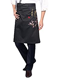 Purchase Apricot Flowers Sushi Chefs Aprons Restaurants Bars Uniform Clothes Waist Embroidery occupation