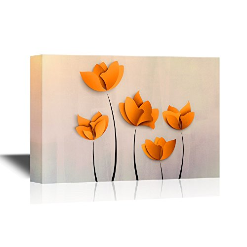 wall26 Canvas Wall Art - Abstract Orange Flowers on Grey Background - Gallery Wrap Modern Home Decor | Ready to Hang - 24x36 inches by wall26