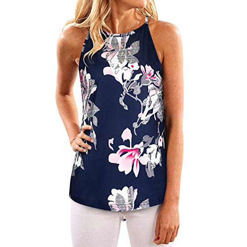 - OUGEES Women's Summer Floral Print Tanks Camis Casual Halter Tops Shirts(Floral-08,L)