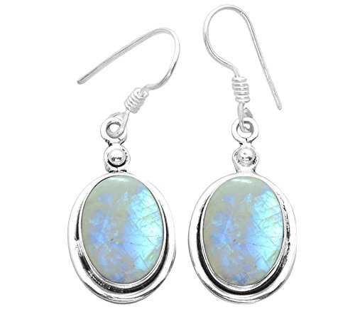 12.00ctw, Genuine Rainbow Moonstone & 925 Silver Plated Dangle Earrings Made By Sterling Silver Jewelry