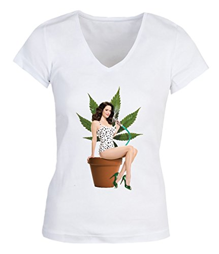 Weed 420 Girl Bong Smoking Damen V-neck T-shirt