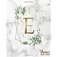 2020-2024 Planner: Five Year (60 Months) Spread View Monthly Organizer & Schedule Agenda | Monogram Initial Letter E Personal 5 Year Calendar, Business Schedule Notebook & Diary | Floral Marble & Gold