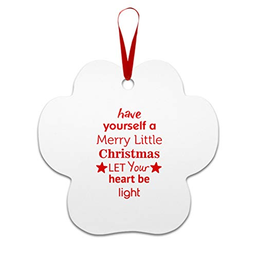 Have Yourself A Let Your Heart Be Light Aluminun Paw Print Shape Christmas Ornaments Red Ribbon 2 Sided Printing Gift Ideas