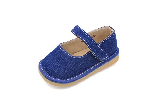 Denim Mary Jane Girl Squeaky Shoes (2, Blue)