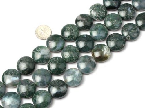 20mm Coin Moss Agate Beads Strand 15 Inch Jewelry Making Beads