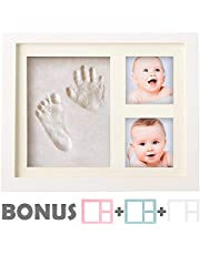 Baby Handprint Kit by Little Hippo! SPECIAL NO MOLD VERSION! Baby Picture Frame (WHITE) & Non Toxic CLAY! Baby Footprint kit best baby shower gifts! Newborn Baby Boy gifts and Baby Girls Gifts!