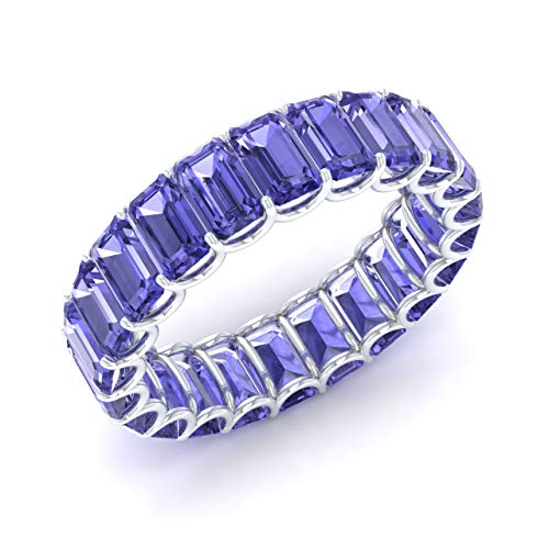 Diamondere Natural and Certified Tanzanite Wedding Ring in 14K White Gold | 6.25 Carat Emerald Cut Full Eternity Stackable Band Size 8 - Tanzanite White Gold Band