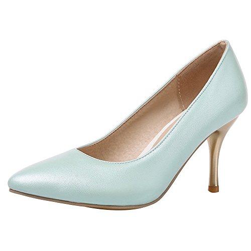 Coolcept Kvinnor Hög Klack Pumpar Spetsig Tå Enfärgad Slip-on Stilettskor Elegant Formell Blå
