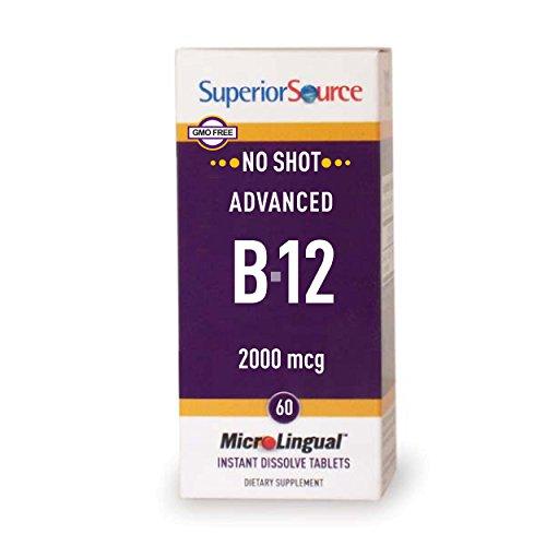 Superior Source No Shot Advanced B12 Vitamins, 2000 mcg, 60 Count