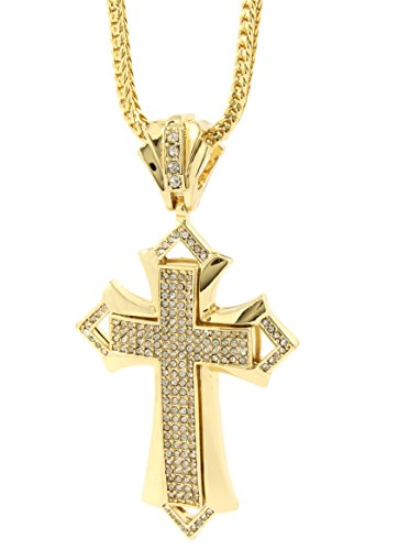 "Mens Gold Plated Iced Out Hip Hop Extra Shorp Cross Pendant 36"" Inch Franco Chain A39"
