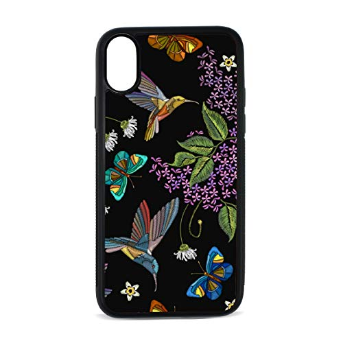 iPhone Butterfly Flower Spring Romantic Nature Meadow Flying Fresh Green Digital Print TPU Pc Pearl Plate Cover Phone Hard Case Accessories Compatible with Protective Apple Iphonex/xs Case 5.8 Inch ()