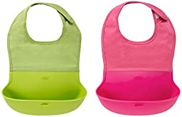 OXO Tot Silicone Roll Up Bib with Comfort-Fit Fabric Neck, 2 Pack, Pink/Green