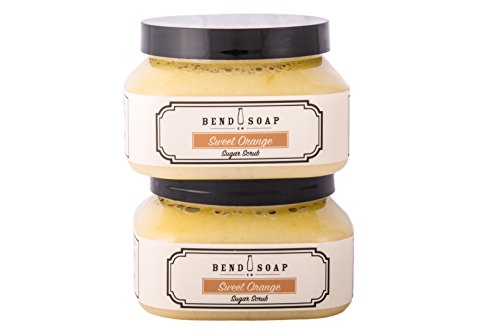 Bend Soap Company All Natural Sugar Scrub for Face and Body – Contains Cane Sugar, Coconut Oil and Olive Oil Plus Essential Oils and More – 10oz Jar – 2 Pack (Sweet Orange Flavor)