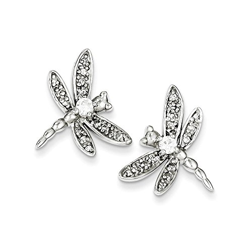 Sterling Silver CZ Dragonfly Post Earrings (0.67 in x 0.79 in) ()