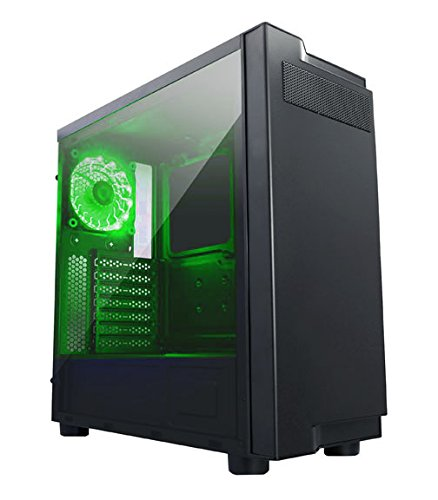 Apevia X-Infinity mid tower with full-size acrylic side window, top USB3.0/USB2.0/audio ports - Green Side Acrylic Window