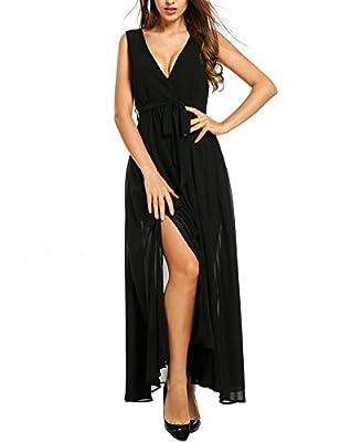 Beyove Chiffon Maxi Wrap Dress Women Vintage V Neck Tie-Waist Split Long Dress