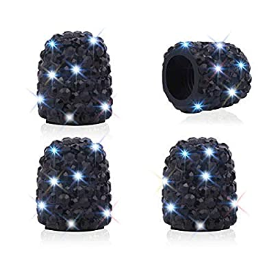 WINKA Set of 4 Rhinestone Tire Valve Stem Caps Bling Car Accessory Compatible with Universal Wheel Air Stem Valve Black: Automotive