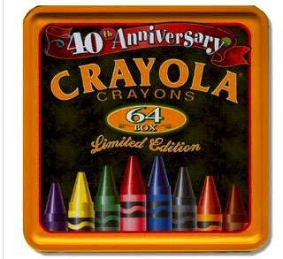 Crayola Crayons 64 Tin Box 40th Anniversary Limited - Anniversary 40th Tin