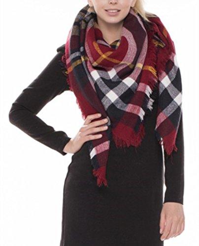 Achillea Womens Oversized Tartan Plaid Check Blanket Scarf Square Winter Warm Shawl Wrap
