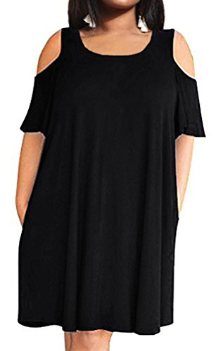 POSESHE Women's Cold Shoulder Plus Size Casual T-Shirt Swing Dress with Pockets Black 18