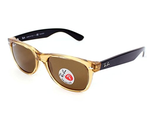 Ray Ban RB2132 945/57 55 Honey Polarized New Wayfarer Sunglasses Bundle-2 - Honey Wayfarer Ray Polarized Ban