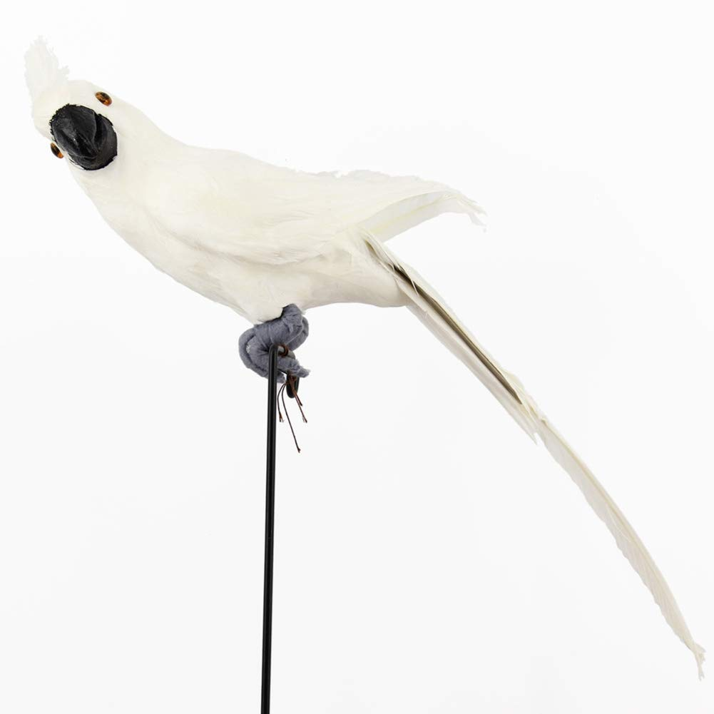 lwingflyer Feather Parrot Artificial Bird for Modern Home Garden Zoo Ornament Decoration Colorful 13.5inch(35cm), White