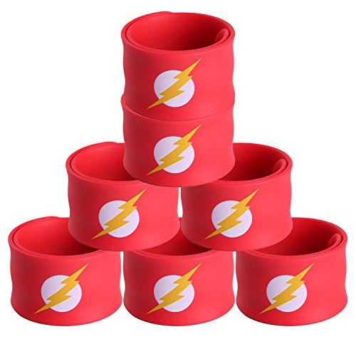 Justice League Superhero Slap Bracelet for Kids Boys & Girls Birthday Party Supplies Favors (7 Pack The Flash) -