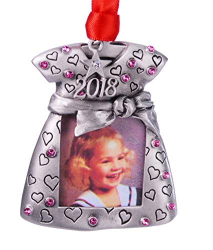 - 2018 Baby Girl Photo Christmas Ornament Pewter with Rose color Austrian Crystals MADE IN USA