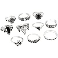 Nongkhai shop Set 10pcs Boho Yoga Yinyang Finger Knuckle Ring Band Midi Rings Stacking Ring (silver)