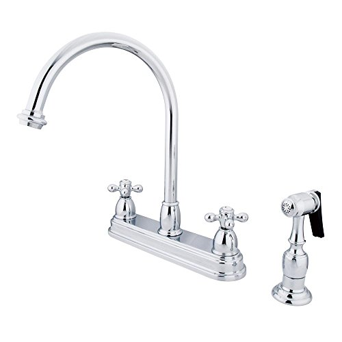 Kingston Brass KB3751AXBS Restoration Deck Mount Kitchen Faucet, Cross Handle with Brass Sprayer, 8-1/2-Inch, Polished Chrome