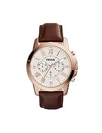 Fossil FS4991 Grant Chronograph - Reloj Análogo Redondo con Movimiento de Cuarzo para Hombre, Acero Inoxidable, Piel, Caja Dorado Rosa y Correa Marrón, 44 mm
