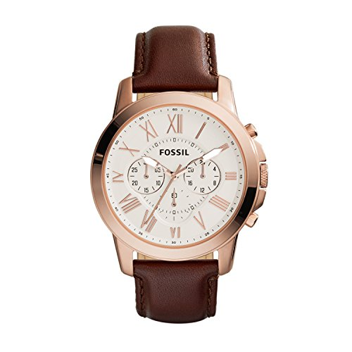 (Fossil Men's Grant Quartz Stainless Steel and leather Dress Watch Color: Rose gold, Brown (Model: FS4991IE) )