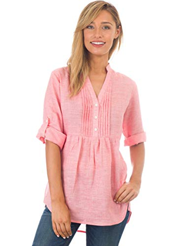 CAMIXA Women's Linen Popover Casual Chic Tunic Shirt Relaxed Blouse Top Pink - Braided Top Tunic