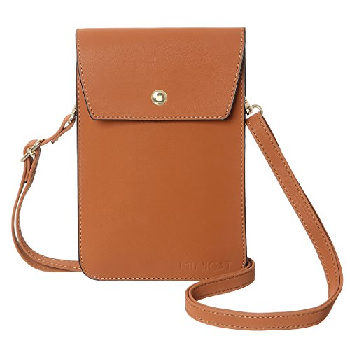 Tan Womens Mini Leather (MINICAT Back Slot Series Small Crossbody Cell Phone Purse Wallet Smartphone Bags For Women(Tan))
