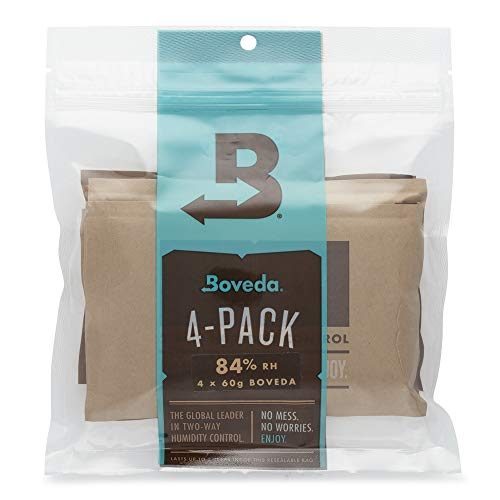 (Boveda 84% RH 60 Gram, Patented 2-Way Humidity Control, (1) 4-Pack, Unwrapped Boveda, Resealable Bag; Up to 25 Cigars; Properly and Precisely Seasons a Wood humidor in one Easy Step)