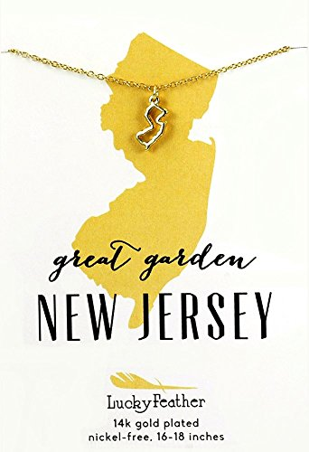 "Lucky Feather New Jersey Shaped State Necklace, 14K Gold-Dipped Pendant on Adjustable 16""-18"" Chain - New Feather"