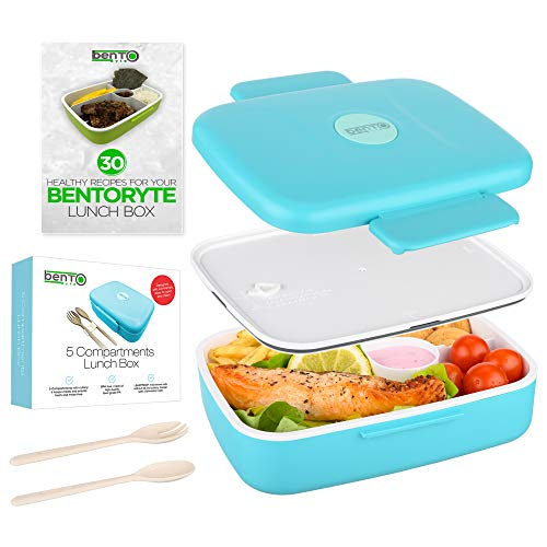 BentoRyte Bento Box with Accessories and Free eBook | Lunch Bento Boxes for Adults and Kids | Food Prep Containers for Your Toddler | Insulated Meal 5 Compartment Lunchbox with a Sauce Container